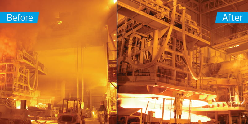 Aluminum smelter before and after dust collection